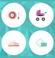 icon flat baby set of napkin box pram dish and vector image vector image