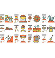industry line icon set vector image