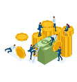isometric investment growth investors carry money vector image