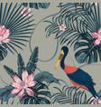 jungle tropic abstract color stork bird seamless vector image vector image