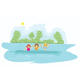 little girls in the water vector image vector image