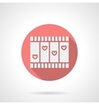 Love story movie round pink flat icon vector image