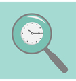 Magnifier and clock Flat design style vector image vector image