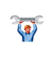 Mechanic Holding Spanner Wrench Low Polygon vector image vector image