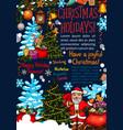 merry christmas sketch santa greeting card vector image vector image