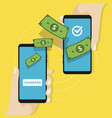 money transfer on mobile payments using smartphone vector image vector image