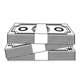 monochrome contour with stacked banknote vector image vector image