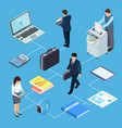office equipment office workers isometric vector image