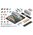 railway station isometric constructor vector image vector image