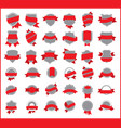 red stickers set 2 vector image