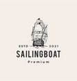 sailing boat hipster vintage logo icon vector image