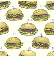 seamless pattern with burgers hand drawn vector image
