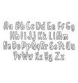 set hand drawn alphabet font simple outline vector image
