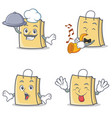 set of bag character with chef trumpet tongue out vector image vector image