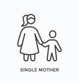 single mother flat line icon outline vector image