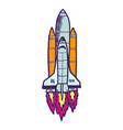 space ship icon hand drawn style vector image