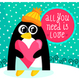 St Valentines Day card with cute penguin vector image