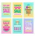 summer sale cards design template of various vector image vector image