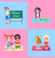 summer school set of posters with kids and teach vector image vector image