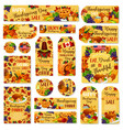 thanksgiving day sale poster banner label vector image vector image