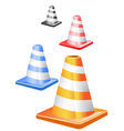 traffic cones in a row vector image vector image