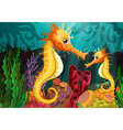 Two seahorses under the sea vector image vector image