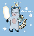 unicorn drawing writing vector image vector image