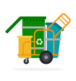 waste collection trolley with containers vector image vector image