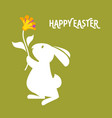 white bunny and tulip flower happy easter greeting vector image vector image