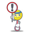 with sign rattle toy character cartoon vector image