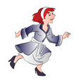 woman wearing a robe running vector image vector image