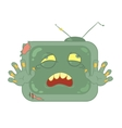 Zombie television on white background vector image