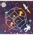 kids imagination space galaxy astrounout rocket vector image