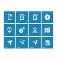 Navigator icons on blue background vector image