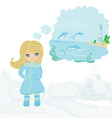 Girl dreaming about summer vector image