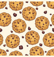 choco chip cookie seamless pattern vector image