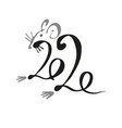 2020 the inscription with a rat calligraphy vector image