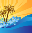 Abstract island text frame with palm trees vector image vector image