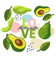 background with avocado with text love vector image vector image