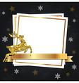 Black Christmas background with golden deer vector image