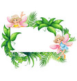border template with two fairies in garden vector image vector image
