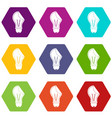 bulb sticker icon set color hexahedron vector image vector image