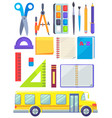 bus school and supplies for kids to study well vector image vector image