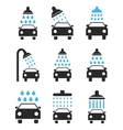 Car Shower Icon Set vector image