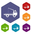 Car towing truck icons set vector image vector image