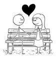 cartoon loving couple sitting on park bench or vector image vector image