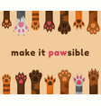 cats and dogs paws cartoon background animals vector image vector image