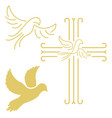 christian cross with the dove in line style vector image vector image