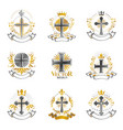 christian crosses emblems set heraldic coat of vector image vector image