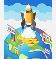 crowdfunding startup isometric composition vector image vector image